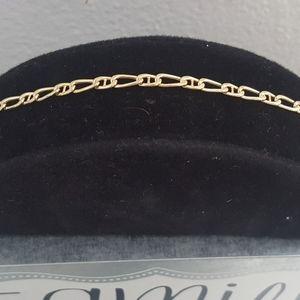 "14k gold marine link bracelet / ankle 9"" men women"
